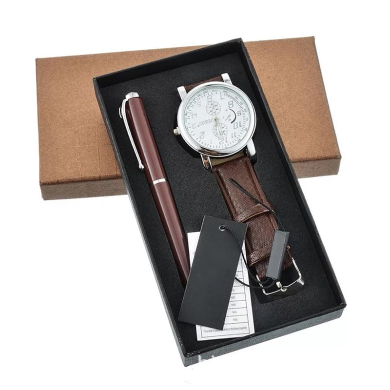 Модные Повседневные часы + Шариковая ручка подарочный набор для мужчин Роскошные Бизнес наручные часы подарки на день рождения для мужчин