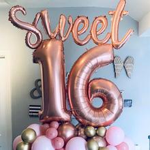 Сладкий 16 вечерние украшения поставки шестнадцать День Рождения украшения 16 лет Стразы образуют цифру «Фольга воздушные шары