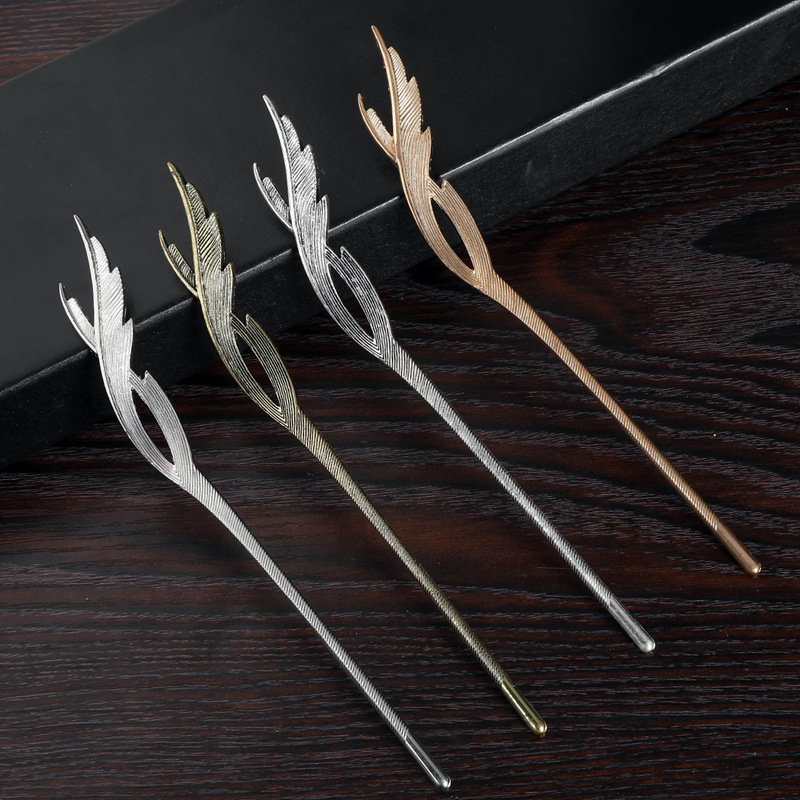Gold Metal Hair Clip Feather Tassel Hairpin Headpiece For Women Girls Hair Sticks Party Headdress Hair Styling Accessories