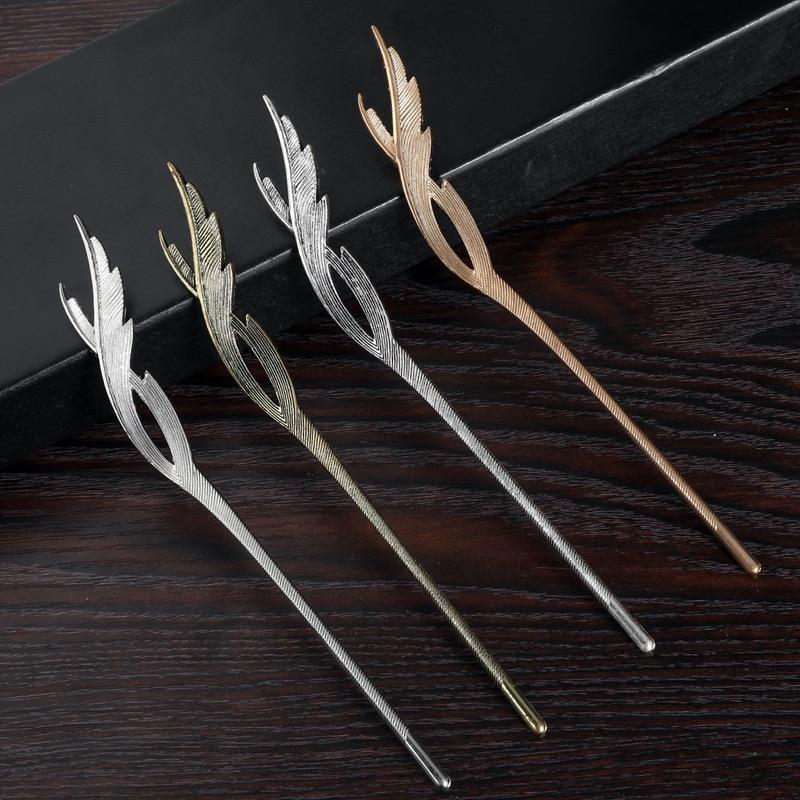 Gold Metal Hair Clip Feather Tassel Hairpin Headpiece For Women Girls Hair Sticks Party Headdress Hair Styling Accessories