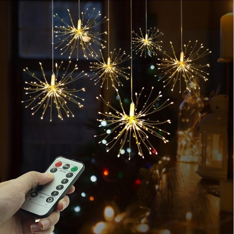 Festival Hanging Starburst String Lights DIY LED Fairy Light 200 Leds Firework Copper Garland Light Outdoor Christmas Decoration