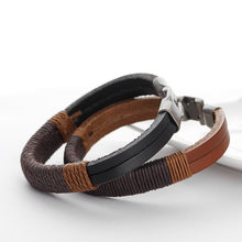 Fahion retro punk women men hemp wrap leather weaving metal bracelet black brown bracelets jewelry(China)