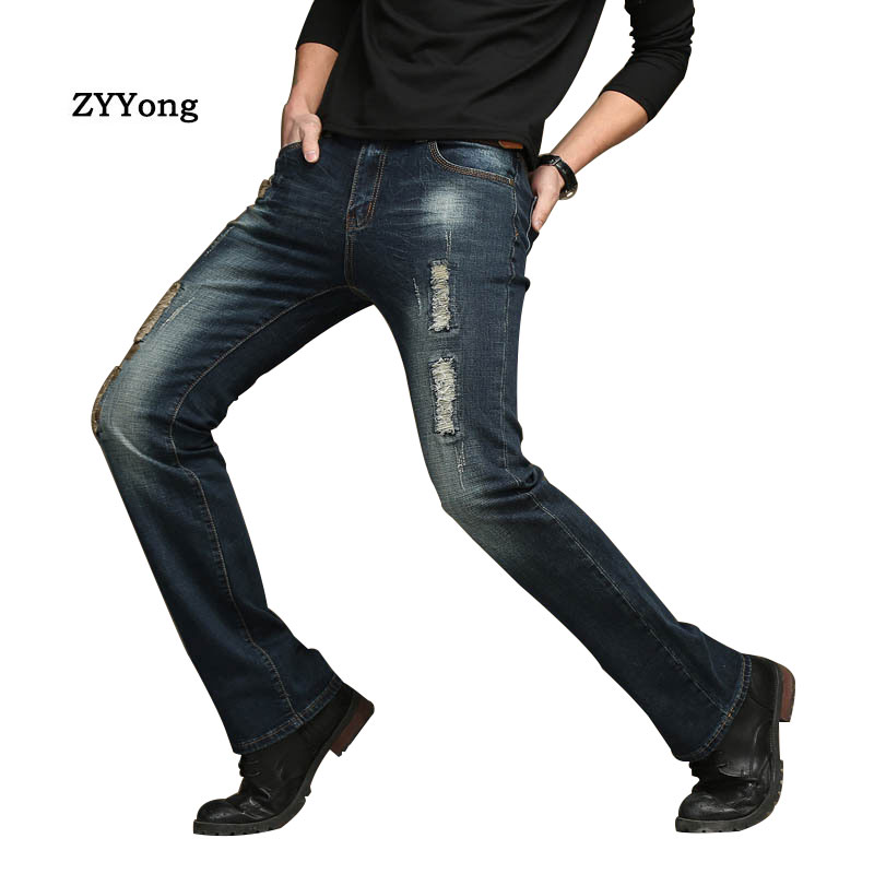 2020 High Quality New Casual Boot cut Men's Ripped Jeans Slim Flare Pants Blue Black Trousers