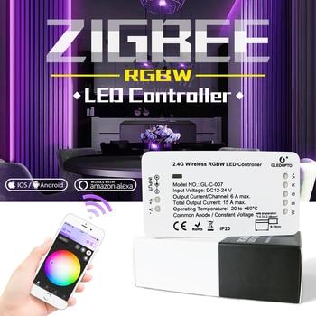 GLEDOPTO ZIGBEE link light RGBW controller zll led strip dc12-24v smart phone app control work with Amazon alexa rgbw