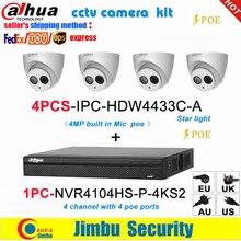 Kit telecamera Dahua NVR kit 4CH 4K videoregistratore NVR4104HS P 4KS2 e Dahua 4MP IP camera 4pcs IPC HDW4433C A starlight