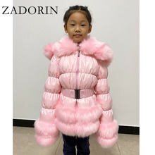 Jacket Down-Coat White-Duck-Down Furry Winter Hooded Faux-Fur-Collar New ZADORIN Thick