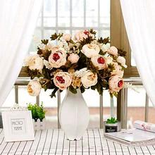 13 europejski styl kwiaty piwonii piwonia salon stół do pokoju dziennego dekoracja kwiaty sztuczne kwiaty sztuczne kwiaty tanie tanio 01221 Suszone kwiaty Lotus Bukiet kwiatów Other Skóra
