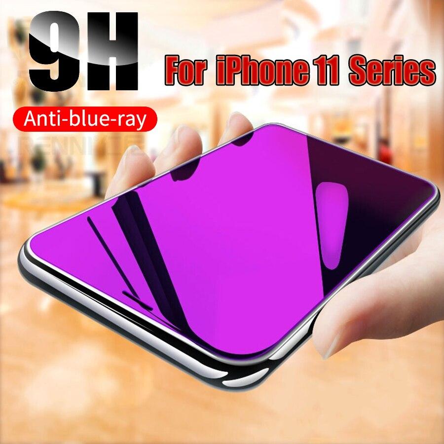 Anti uv roxo luz azul impressão digital vidro temperado para iphone 12 mini 11 pro xs max xr x 8 7 6s mais filme protetor de tela