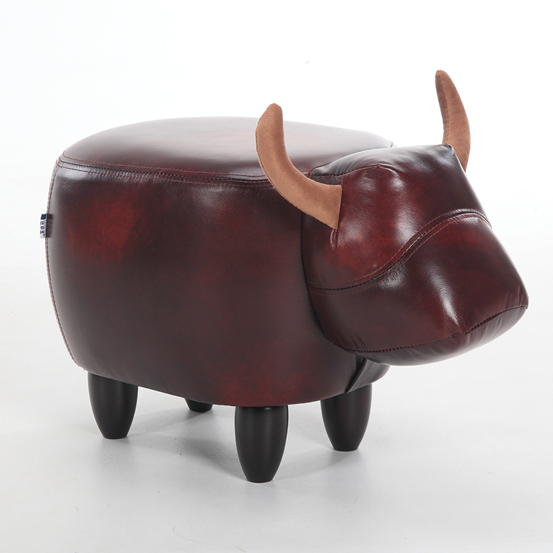 Creative Cow Sofa Stool Change Shoes Solid Wood Footstool Pig Elephant Stool Animal Sheep Dressing Storage Stool