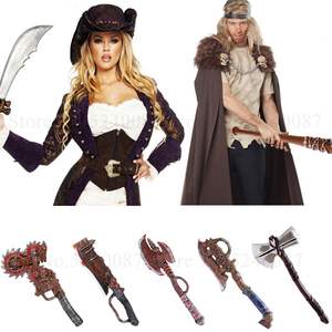 Halloween Masquerade Weapon Thor Hammer Cosplay Props Pirate Captain Knight Combat Fight PU Axe Mace Soldier Armor Party Costume