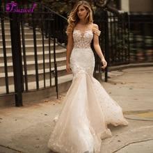 Fsuzwel 新チャーミングボートネックボタンレースマーメイドウェディングドレス 2020 高級ビーズアップリケスイープトレイントランペット花嫁衣装