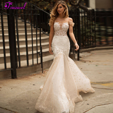 Fsuzwel New Charming Boat Neck Button Lace Mermaid Wedding Dresses 2020 Luxury Beaded Appliques Sweep Train Trumpet Bridal Gown