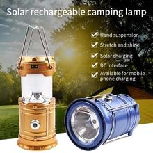 Tragbare Solar Ladegerät Camping Laterne Lampe LED Außen Beleuchtung Folding Camp Zelt Lampe USB Aufladbare Laterne Licht