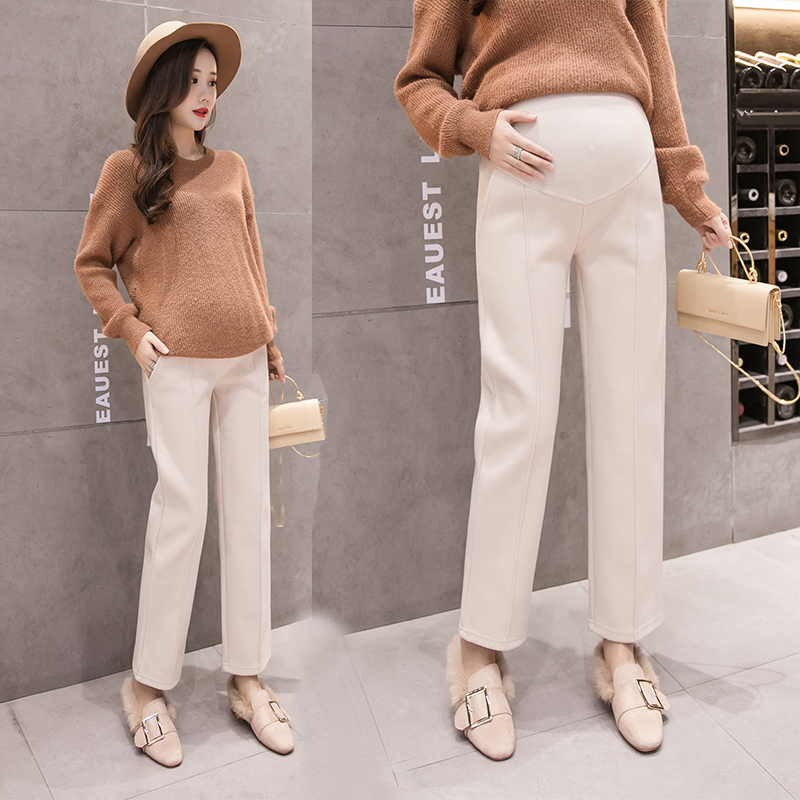1668# Thicken Warm Woolen Maternity Straight Pants Autumn Winter Korean Fashion Clothes For Pregnant Women Pregnancy Trousers