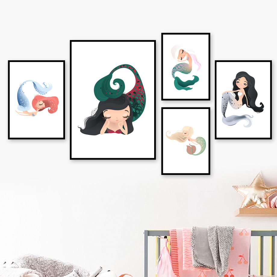 Cute Mermaid Nursery Wall Art Canvas Painting Nordic Minimalism Posters And Prints Wall Pictures For Baby Girl Kids Room Decor