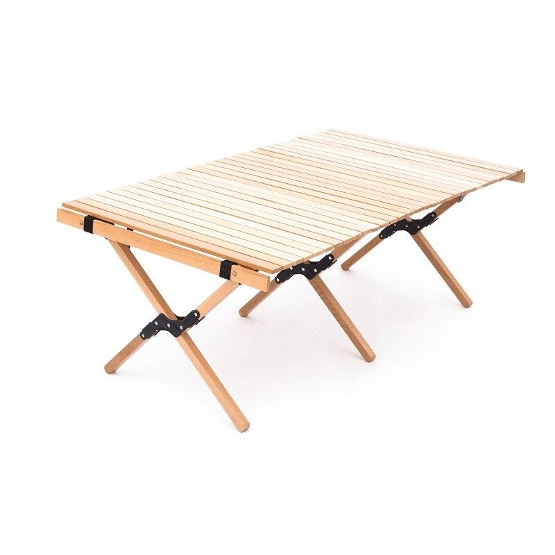 120cm de madeira de acampamento ao ar livre portátil ovo rolo mesa dobrável oem viagem caminhadas churrasco mesa mesa mesa piquenique família faia