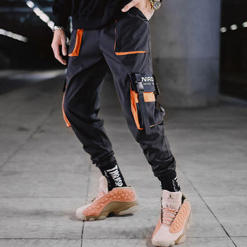 2021 New Men Hip Hop Black Cargo Pants joggers Sweatpants Men Ribbons Casual Streetwear Harem Pants Women Fashions Trousers 1