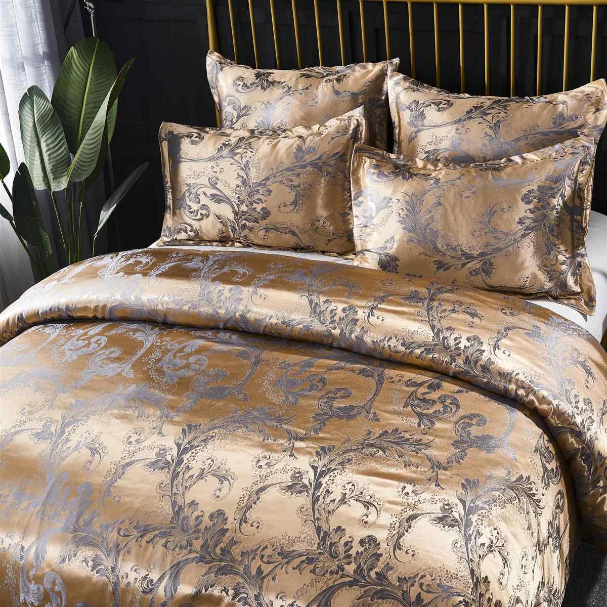 Luxury Jacquard Bedding Set King Queen Size 2/3 Bed Linen Silk Duvet Cover Set Pillowcases