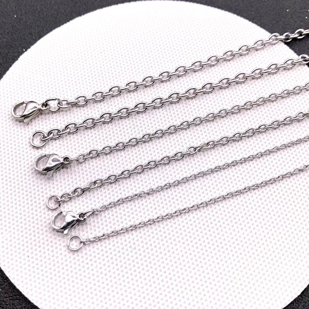 2mm 3mm Stainless Steel Long Chains Necklace Womne Men Accessoies For Pendants Silver Color o Chain Jewelry Wholesale Party