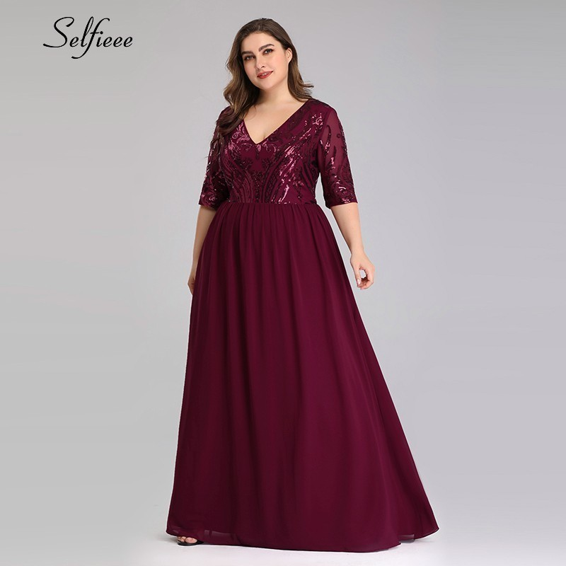 Robe Femme Elegant Burgundy Sequined Women Dresses Plus Size A-Line V-Neck Half Sleeve Ladies Sparkle Maxi Dresses Zomer Jurk