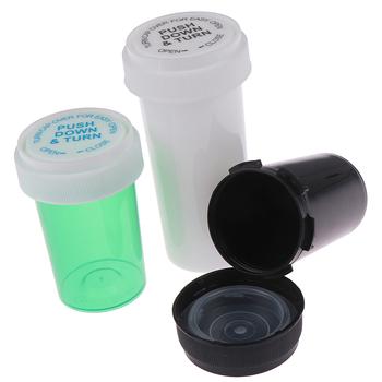 1 sztuk losowe 75ML 110ML plastikowe Push Down Turn fiolka pojemnik chwastów przechowywania Stash Jar butelka na pigułki Case Herb Box tanie i dobre opinie KuZHEN Acrylic Plastic 75 ML 110 ML