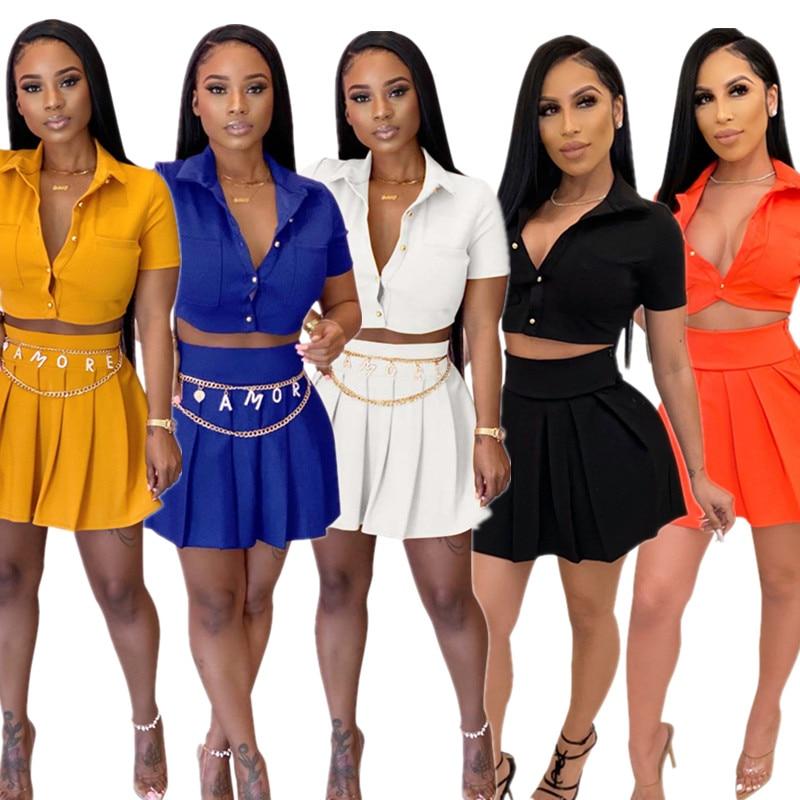 Summer Preppy Skirt Set Woman Short Sleeve Turn Down Collar Shirt Mini Skirts Sets Womens Two Piece Set  Wholesale Dropshpping