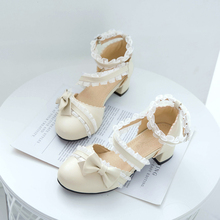 Genuine Original Ana Princess Lo Lolita Shoes L Bow Students Sweet Head Chunky-Heel Fairy Sandals gothic kawaii lolita shoes princess sweet lolita gothic lolita shoes lolita cos punk wedges increased women s shoes deep red 9101