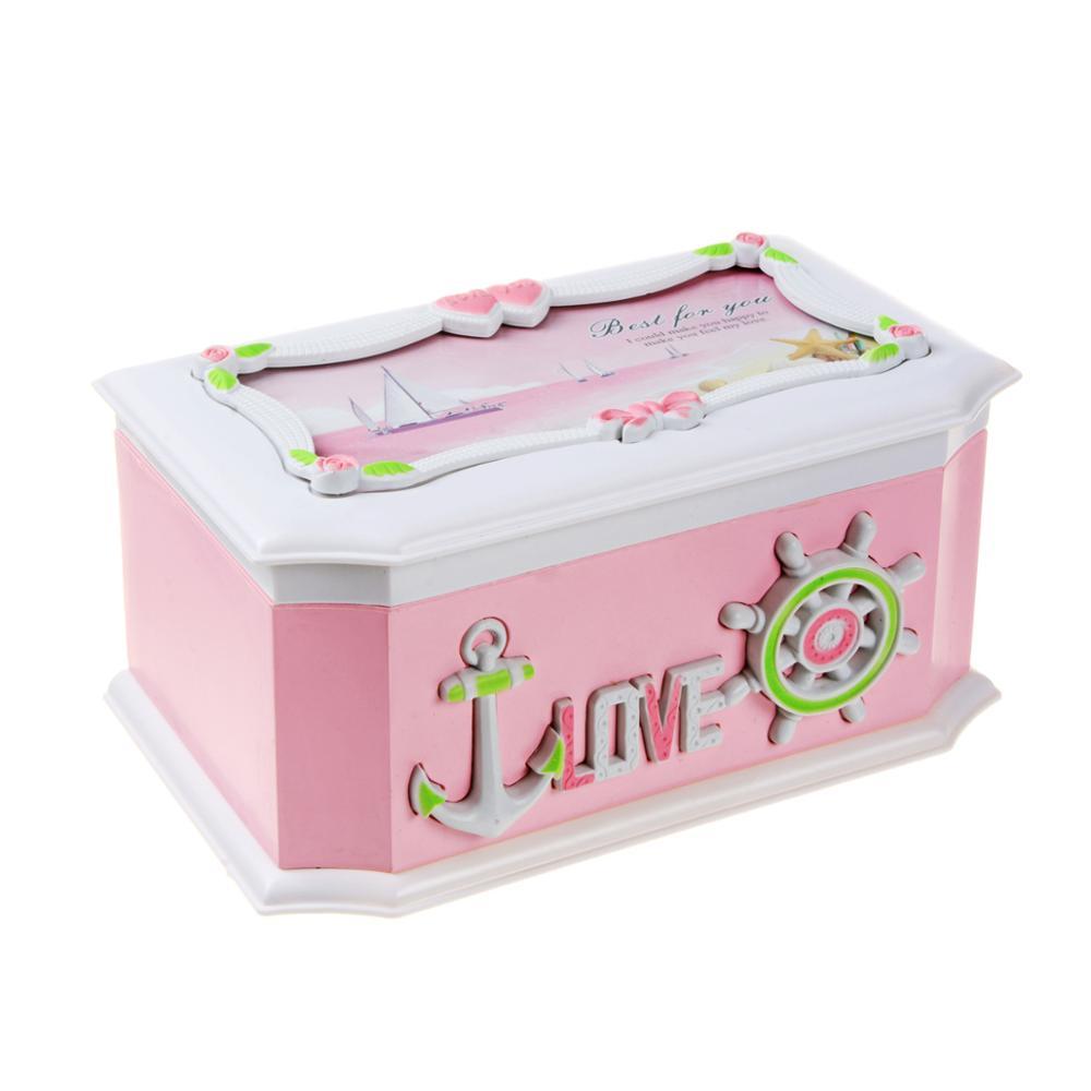 Saim Music Box Pink Creative Sailing Decor Jewel Storage Case Music Jewelry Box Clockwork Plastic Jewelry