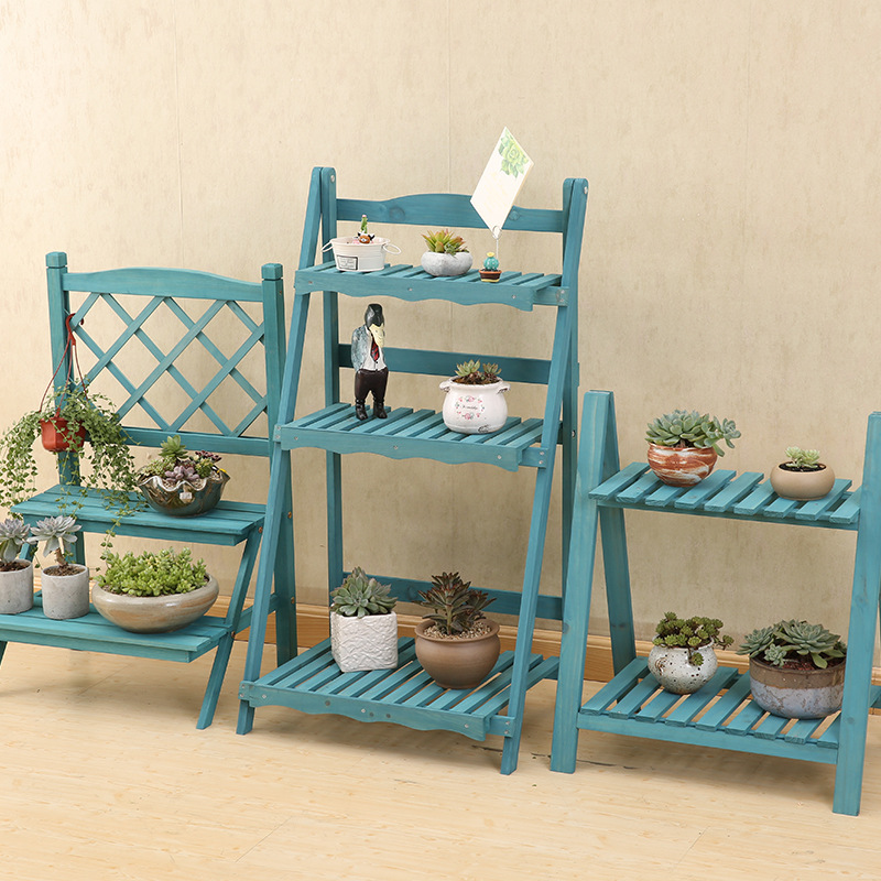 Multi Layers Solid Wood Plant Stand Mediterranean Vintage Plant Shelf Desk Flower Rack Flower Stand Garden Stand Storage Rack