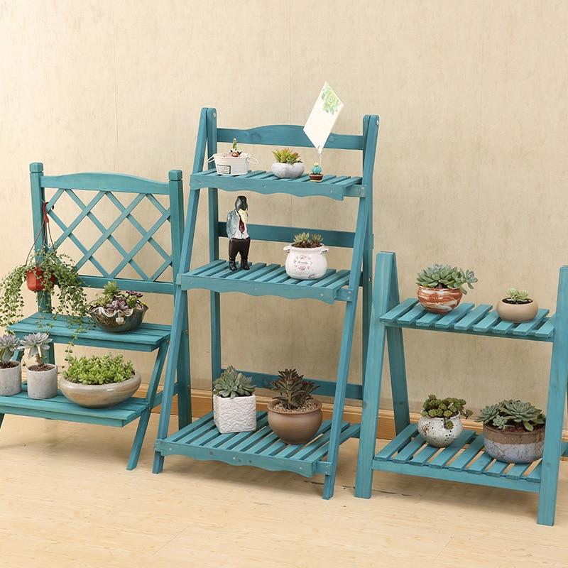 Multi Layers Solid Wood Plant Stand Mediterranean Vintage Plant Shelf Desk Flower Rack Flower Stand Garden Stand Storage Rack