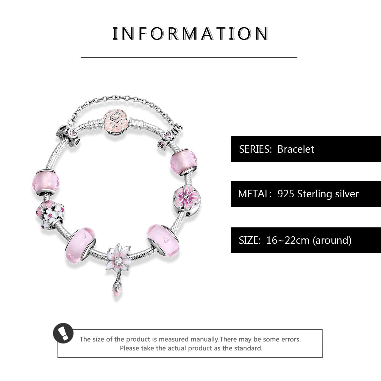 Новый женский роскошный браслет из стерлингового серебра 925 пробы, розовый эмалированный цветок, стеклянные бусины, очаровательный браслет для женщин, вечерние ювелирные изделия, подарок своими руками - 3