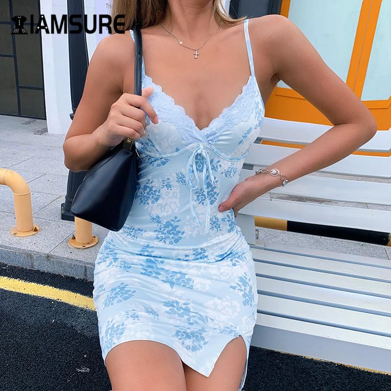 IAMSURE Streetwear Fashion Lace Edge Sexy V Neck Split Bodycon Dress For Women Flower Print Aesthetic y2k Female Mini Dresses