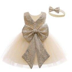 Платье для маленьких девочек, платье принцессы для младенцев на первый 1 год, платье на день рождения, Одежда для новорожденных вечерние пра...