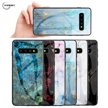 Stained Phone Cases For Samsug A6 Plus A7 2018 Marble Tempered Glass Covers For Samsung Galaxy S8 S9 S10 5G Plus Note 8 9 10 Pro(China)