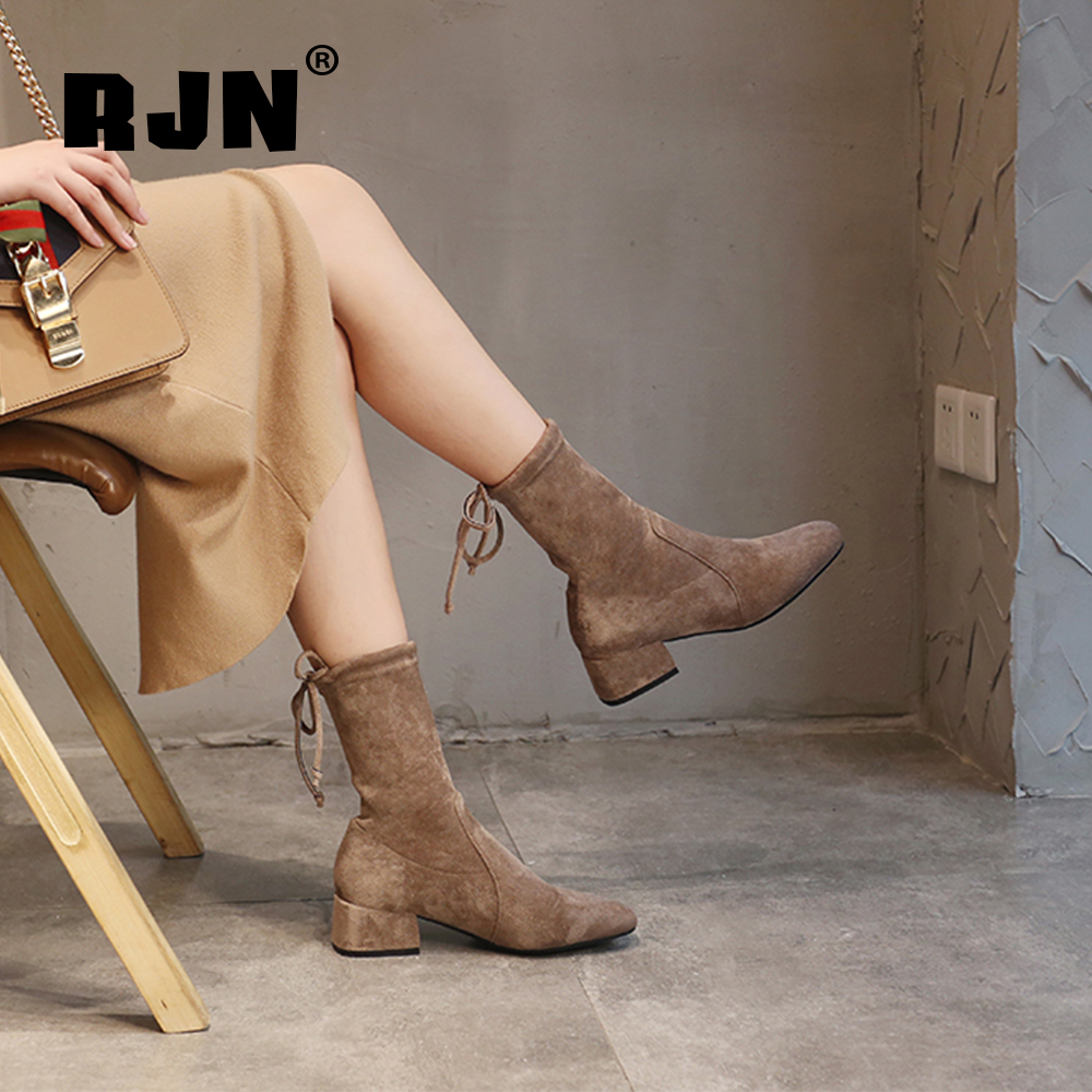 Buy RJN Stylish Ladies  Ankle Boots Flock Butterfly-Knot Classic Round Toe Square Med Heel Elegant Slip-On Women Ankle Boots RO38