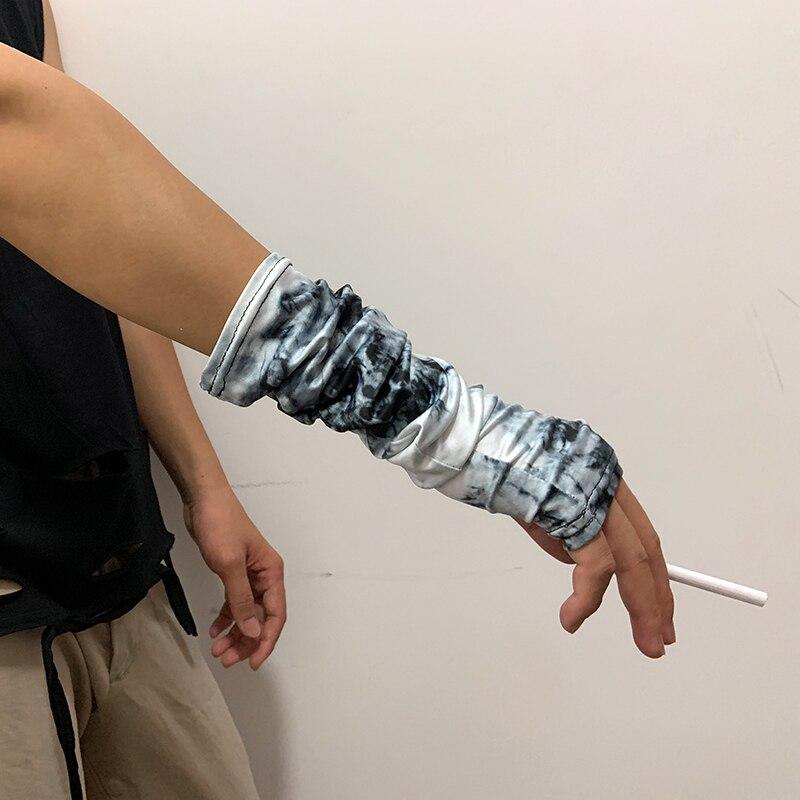 Fake Tie Dye Print Punk Gothic Unisex Fingerless Cuff Thin Gloves Women Men Ninja Elbow Length Mittens 2020 Cool Arm Warmer