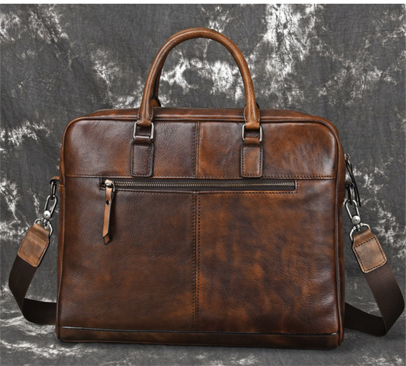 PNDME модный винтажный большой емкости деловой мужской портфель из натуральной кожи Повседневная простая воловья сумка для ноутбука сумки - 2