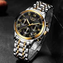 New Mens Watches Top Brand Luxury LIGE Business Date Stainless Steel Quartz Watch Mens Fashion Waterproof Chronograph Male+Box цена 2017