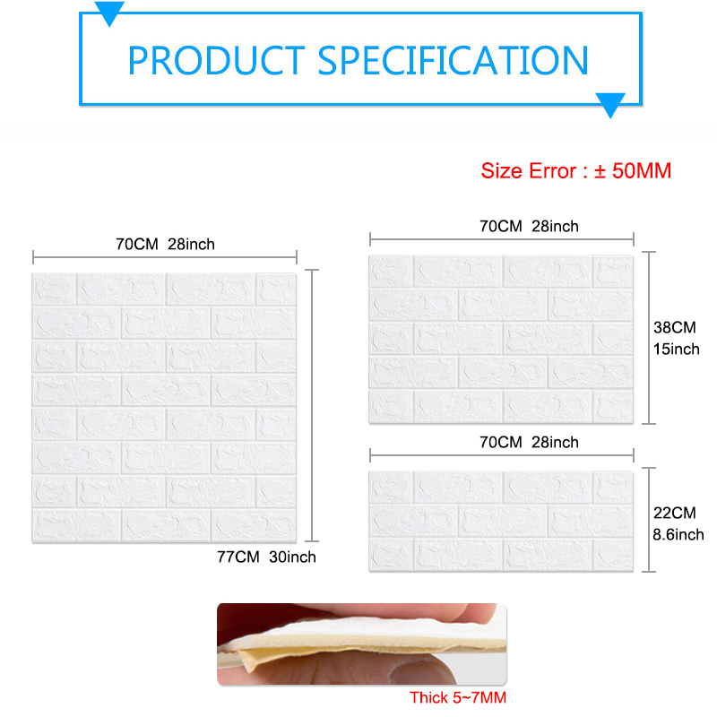 3D Wallpaper DIY Brick stone pattern Self-Adhesive Waterproof Wall Stickers 70cm*77cm floral prints 3D Wall Sticker for home 2