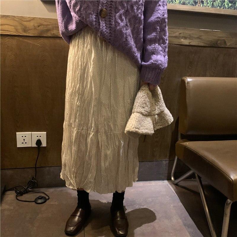 Alien Kitty 2020 Chic Streetwear Slender Fresh Polka Dots Pleated Sweet Stylish Loose All Match Women Elastic-Waist Long Skirts