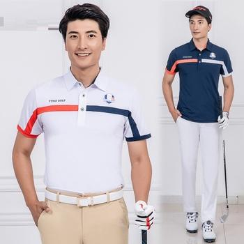 Pgm męskie koszule golfowe z krótkim rękawem letnia sportowa eksponująca mięśnie koszule męskie szybkie suche oddychające tenis topy odzież golfowa D0653 tanie i dobre opinie Poliester Pasuje prawda na wymiar weź swój normalny rozmiar Anty-pilling Przeciwzmarszczkowy Oddychająca Suknem Shirts
