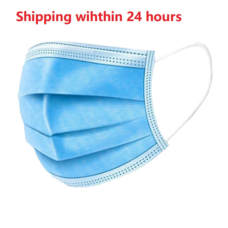 50pcs Disposable Mask 3 Layer Non-woven Dust Mask Thickened Breathable Mouth Face Mask Dustproof Face Masks 24 Hours Delivery