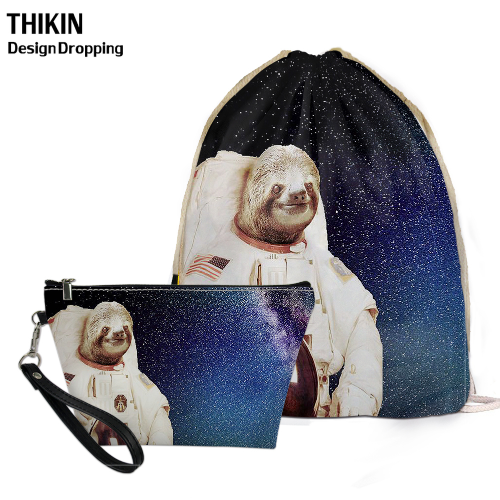 THIKIN Funny Astronaut Sloth 3D Printed 2PCS Bag Sets School Supplies Causal Women's Drawstring Bags Custom Logo Comestic Case