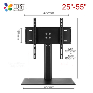 """Image 5 - Universal Table TV Stand for 32 65"""" LCD LED Screen Height Adjustable Monitor Desk Bracket with Tempered Glass Base VESA400x400mm"""