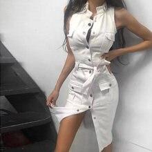 Shyloli vestido de moda casual feminino, vestido sem mangas sensual branco com bolsos, preto com faixa bainha botão streetwear 2020 vintage