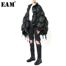 [EAM] Loose Fit Black Pleated Tassel Down Jacket New Stand Long Sleeve Warm Women Parkas Fashion Tide Autumn Winter 2019 1A335(China)