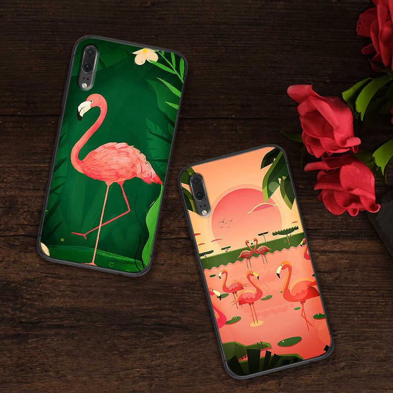 สำหรับ Huawei P8 P9 Mini P10 P20 2019 P30 LITE สำหรับ Huawei P สมาร์ท Z 2018 P20 Pro ฝาครอบโทรศัพท์กรณี flamingos Tropical