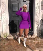 Echoine outono manga longa topos retalhos mini saia conjunto roxo duas peças conjunto sexy magro feminino agasalho branco clube outfits