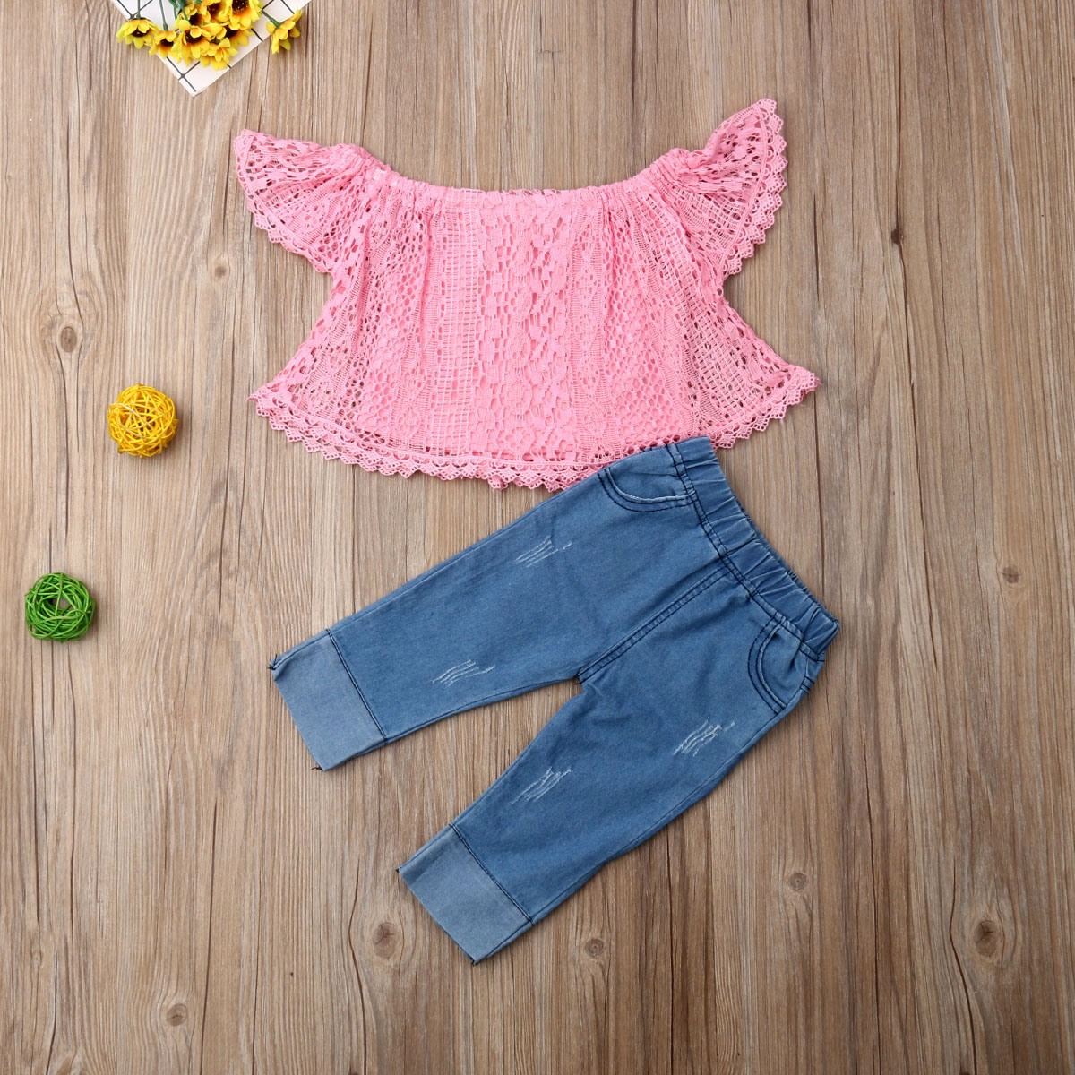 Emmababy Newest Fashion Toddler Baby Girl Clothes Off Shoulder Lace Reticular Tops Denim Long Pants 2Pcs Outfits Clothes