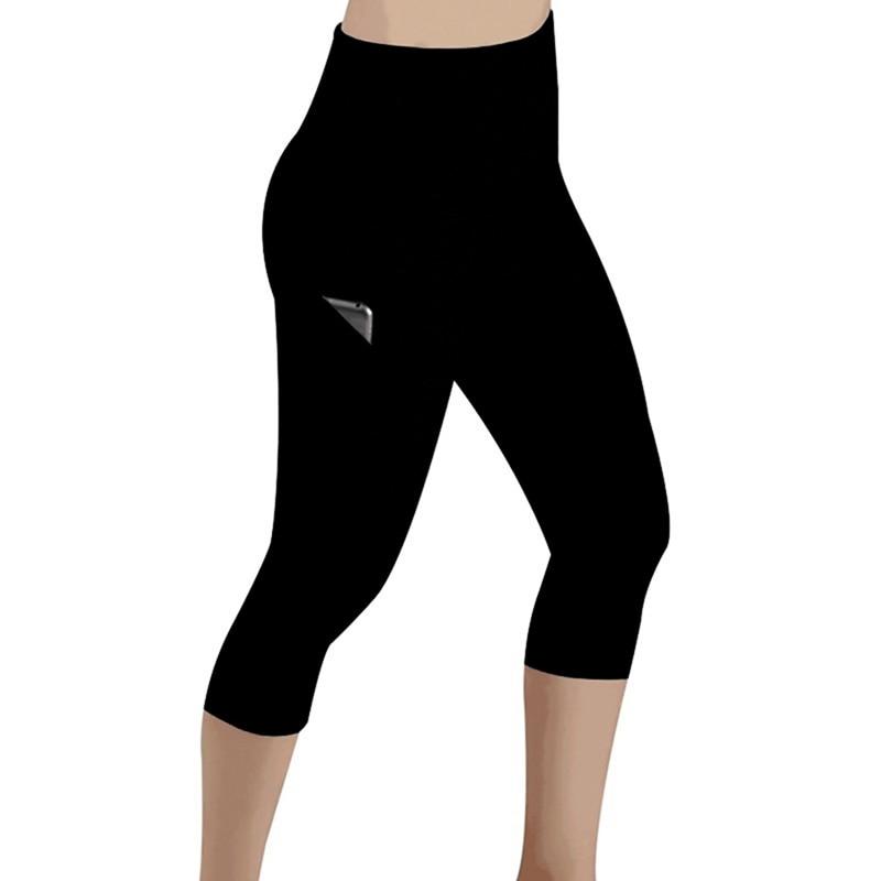 Женские легинсы с высокой талией, повседневные легинсы для фитнеса, эластичные легинсы с эффектом пуш-ап для бега, леггинсы с карманами